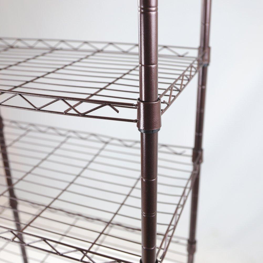 Yontree 5-Tier Wire Shelving Shelves Unit Steel Storage Rack Baker Rack Kitchen Laundry Organization in Brown on Wheels 21.7x13.8x57.1 in. by Yontree (Image #4)