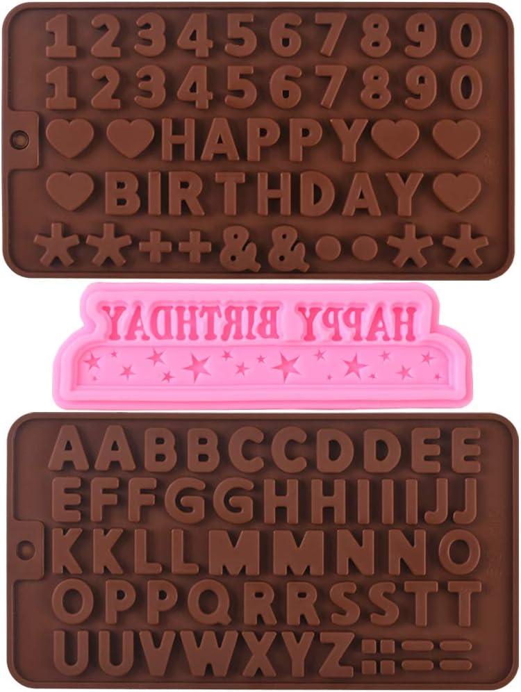 Cozihom Moldes de silicona para decoración de chocolate y pasteles, números y símbolos de feliz cumpleaños