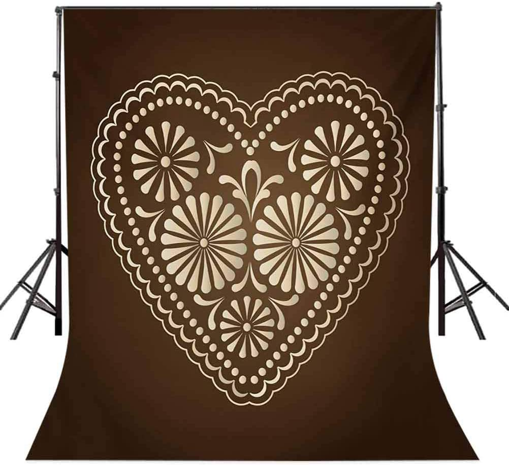 Romantic Heart Pattern with Dots and Flowers Valentines Day Art Illustration Background for Party Home Decor Outdoorsy Theme Vinyl Shoot Props Brown Beige Chocolate 6.5x10 FT Photography Backdrop