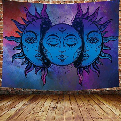 DBLLF Sun and Moon Tapestry Burning Sun with Star Tapestry Psychedelic Tapestry Blue and Purple Mystic Tapestry Queen Size 80 x60 Flannel Art Tapestries DVLS319