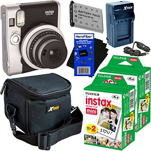Fujifilm Instax Mini 90 Neo Classic Instant Film Camera (Black) + Instax Mini Instant Film (40 sheets) + NP-45A Battery & AC/DC Battery Charger + Xtech Camera Case + HeroFiber Gentle Cleaning Cloth by HeroFiber