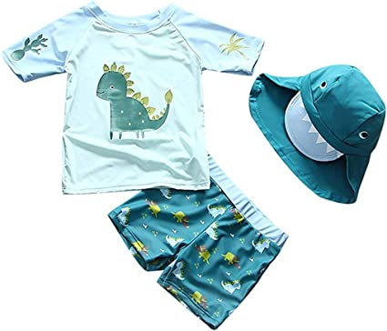 FBA SGMWVB Baby and Toddler Boys 3-Piece Swimsuit Set Kids Bathing Suit Swimwear with Hat Surfing Suit UPF 50