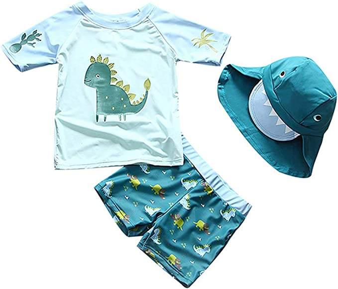 Kid Baby Swimsuit Rash Guard Costume Girl Boy Bathers Swimmers Surf Swimwear+Hat