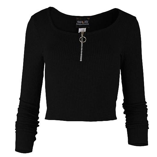 cc659f3f0b3ecc Womens Knit Long Sleeve Basic Crop Top Round Neck O Ring Zipper with Stretch  - Black