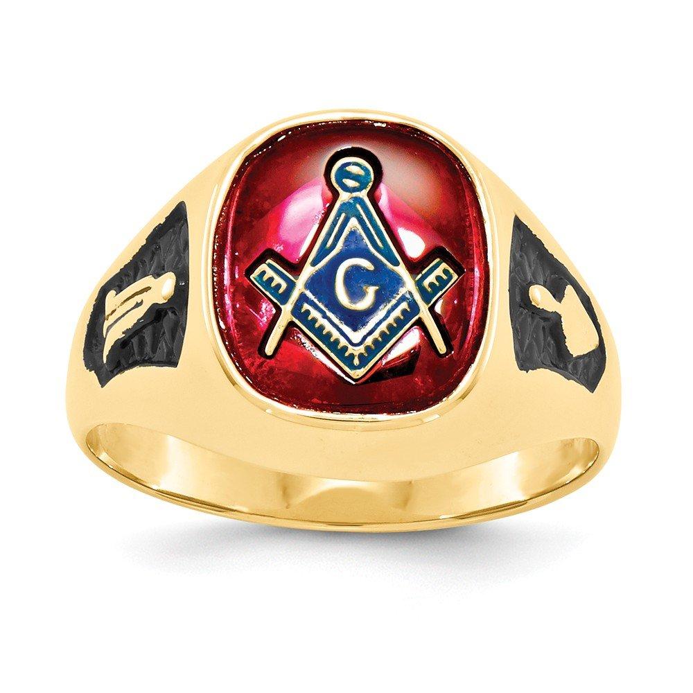 ICE CARATS 14k Yellow Gold Mens Synthetic Red Ruby Masonic Freemason Mason Band Ring Size 10.00 Man Fine Jewelry Dad Mens Gift Set by ICE CARATS (Image #3)
