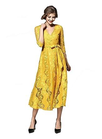 4a367ba76f42d Y-YOUNG Femme Jaune Clair Robe Portefeuille Wrap Dress V Neck Eélégant Robe  Forme Haute