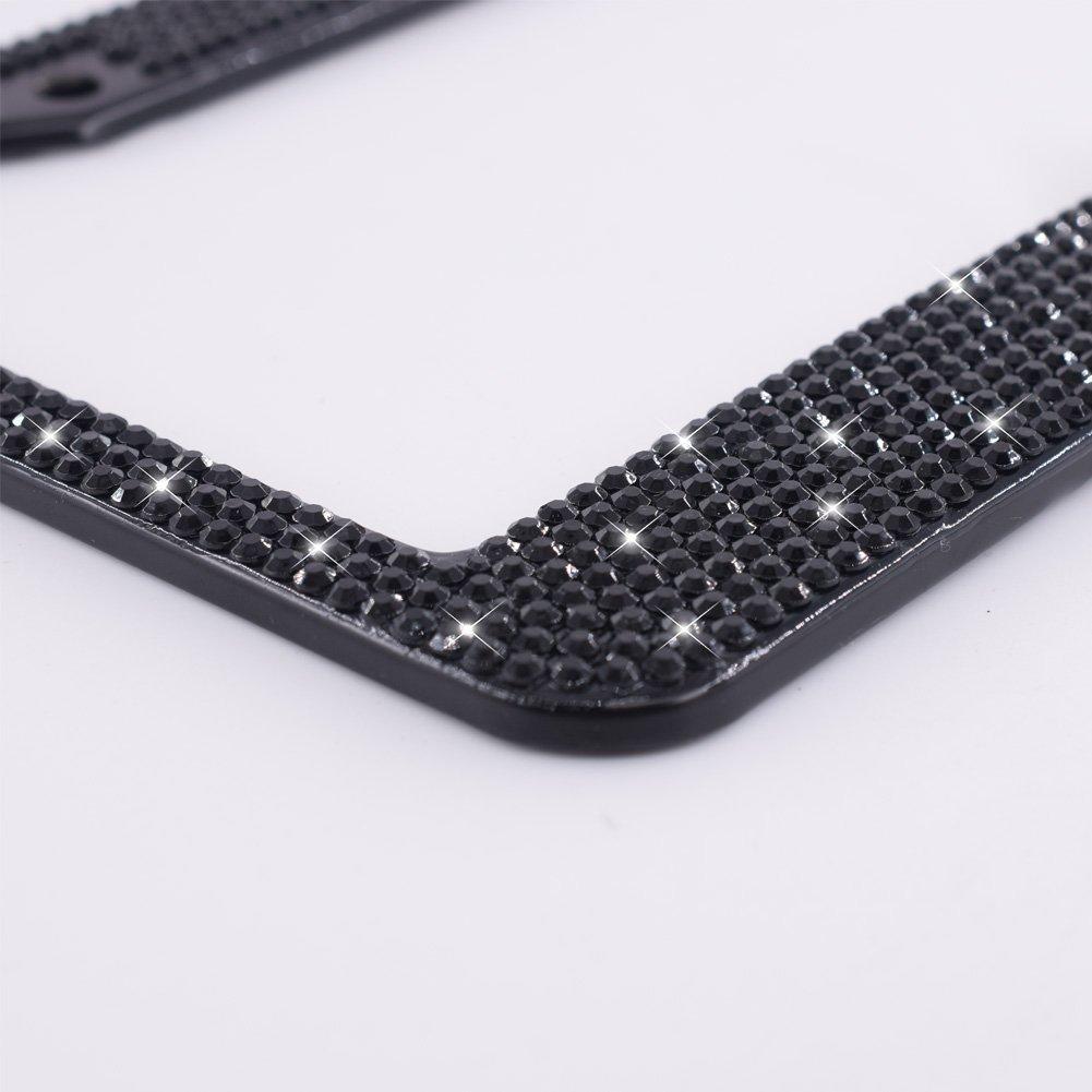 8 Row Pure Handmade Waterproof Glitter Rhinestones Crystal License Frames plate for Cars with 2 Holes Bonus Matching Screws Caps Set Black FEENM Bling Bling License Plate Frames 2 PACK