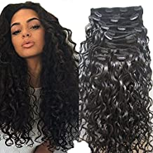 LUFFY Hair 100g 10pcs Unprocessed Peruvian Clip In Human Hair Extensions Loose Curly Virgin Hair Natural Color Clips In 20 Inch