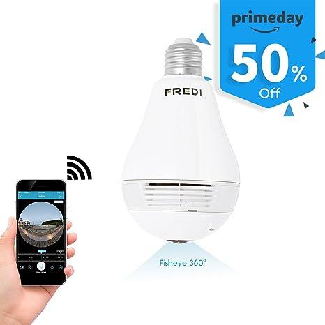 Buy FREDI 360 Wide Angle Fisheye WiFi IP Hidden Camera Bulb