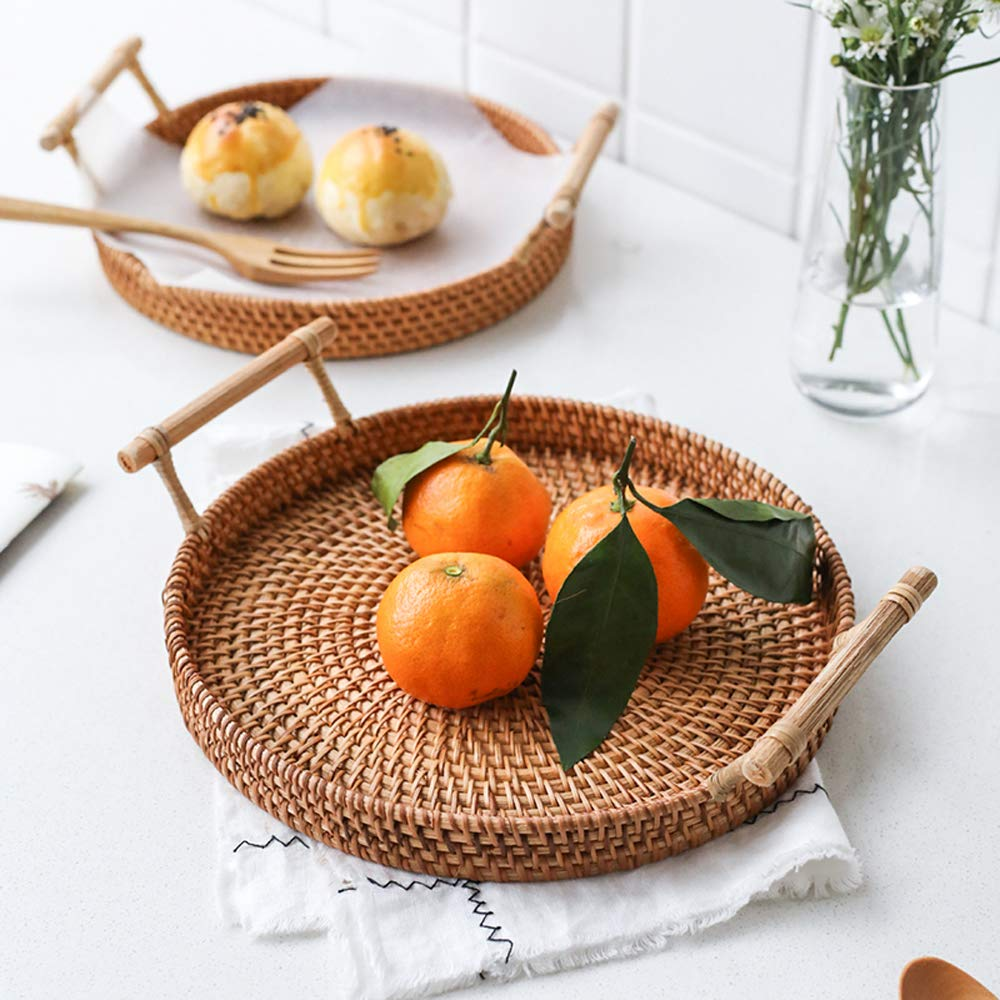 FREELOVE Manual Rattan Bread Basket/Fruit Tray, Round (8.6 in. + 9.4 in.) by FREELOVE (Image #4)