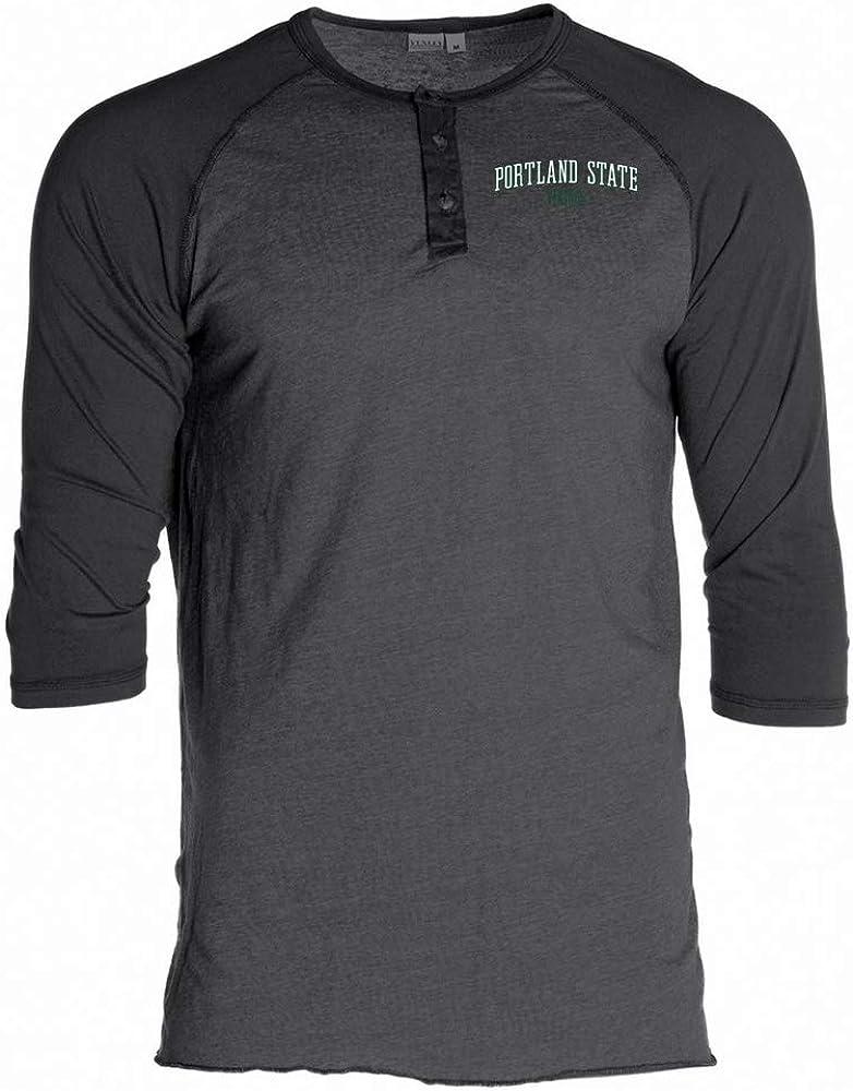 Official NCAA Portland State Vikings RYLPOR07 Unisex 3//4 Sleeve Button Raglan