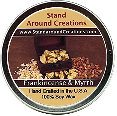 Premium 100% All Natural Soy Wax Aromatherapy Candle - 4 oz.Tin: Frankincense And Myrrh: An irresistible blend of bergamot, patchouli, sandalwood, myrrh as well as many other essential oils. 4 oz. each. Naturally Strong, Highly Scented.