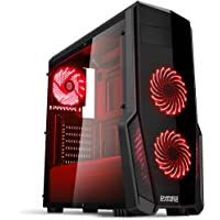 Empire Gaming - Case PC Gaming WarFare Nero LED Rosso: USB 3.0 e 3 Ventole LED 120 mm, parete laterale trasparente affumicato - ATX / mATX / mITX