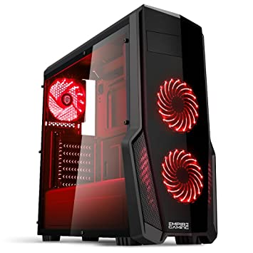Empire Gaming - Caja PC para juegos WarFare negra LED rojo: USB 3.0, 3 ventiladores LED 120 mm, pared lateral ahumado transparente - ATX/mATX/mITX: ...