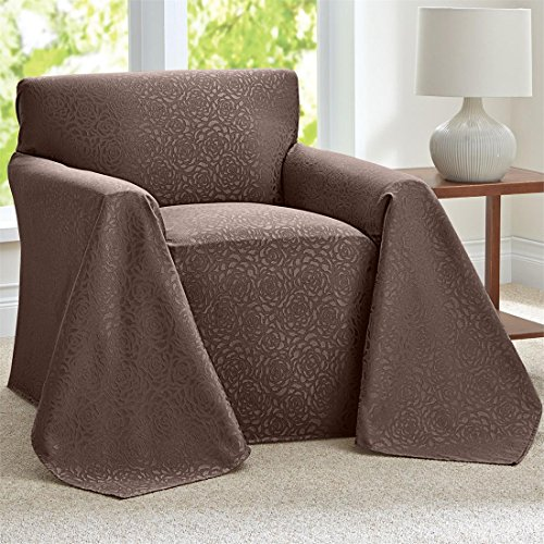 Brylanehome Rosanna Jacquard Chair Throw Slipcover (Cocoa,0) (Chair And A Half Covers)