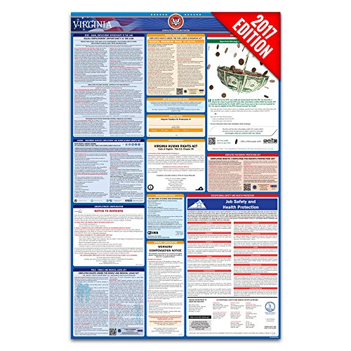 2017 Virginia Labor Law Poster – State & Federal Compliant – Laminated
