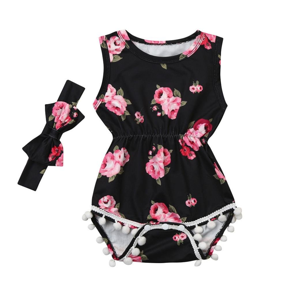 Amazon.com: ShiTou 2pcs Baby Girls Floral Tassel Jumpsuit Romper + Headband Set Clothing (70): Clothing