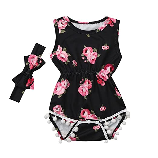 Amazon.com: ShiTou 2pcs Baby Girls Floral Tassel Jumpsuit Romper + Headband Set Clothing (100): Clothing