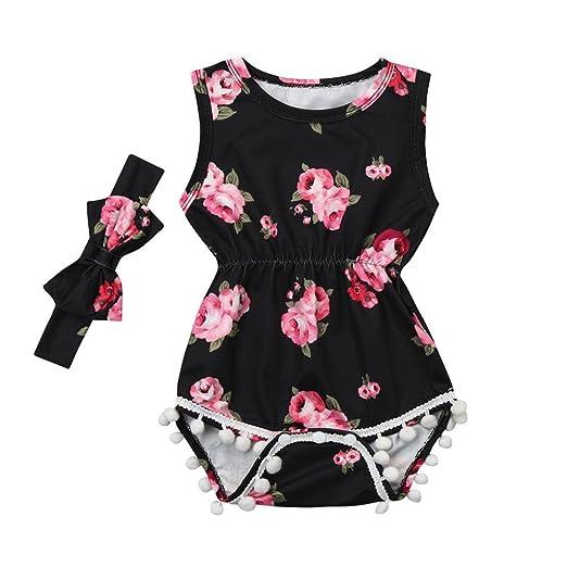 Amazon.com: ShiTou 2pcs Baby Girls Floral Tassel Jumpsuit Romper + Headband Set Clothing (100): Clothing