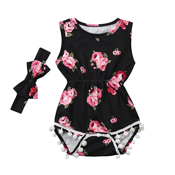 Amazon.com: ShiTou 2pcs Baby Girls Floral Tassel Jumpsuit Romper + Headband Set Clothing (90): Clothing