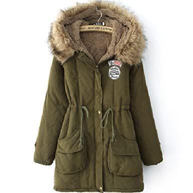 Amazon.com: Women's Cotton-padded Coat Winter Coat Hood Parka ...
