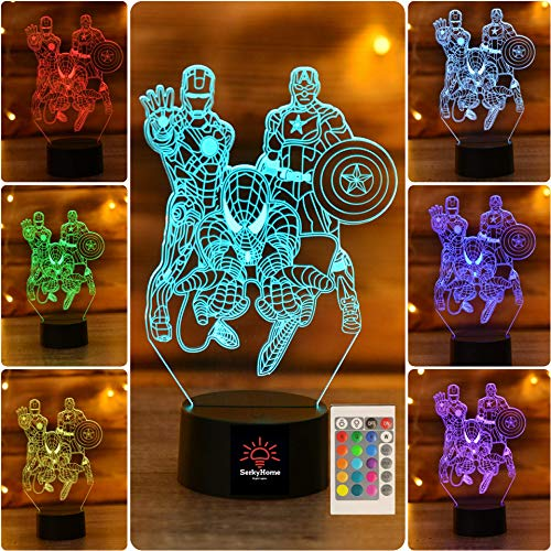 Serkyhome 3D Night Lights for Kids 7 Colors 3D LED Illusion Lamp with Remote Control-Bedroom Table Lamp-Spiderman-Captain America-Ironman(Marvel -