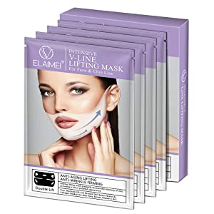 ELAIMEI V mask double chin reducer lifting and slimming masks, Chin up Contour Lifting Firming Moisturizing Mask All Night,Silicone V-Line Lifting Patches (4 in 1)