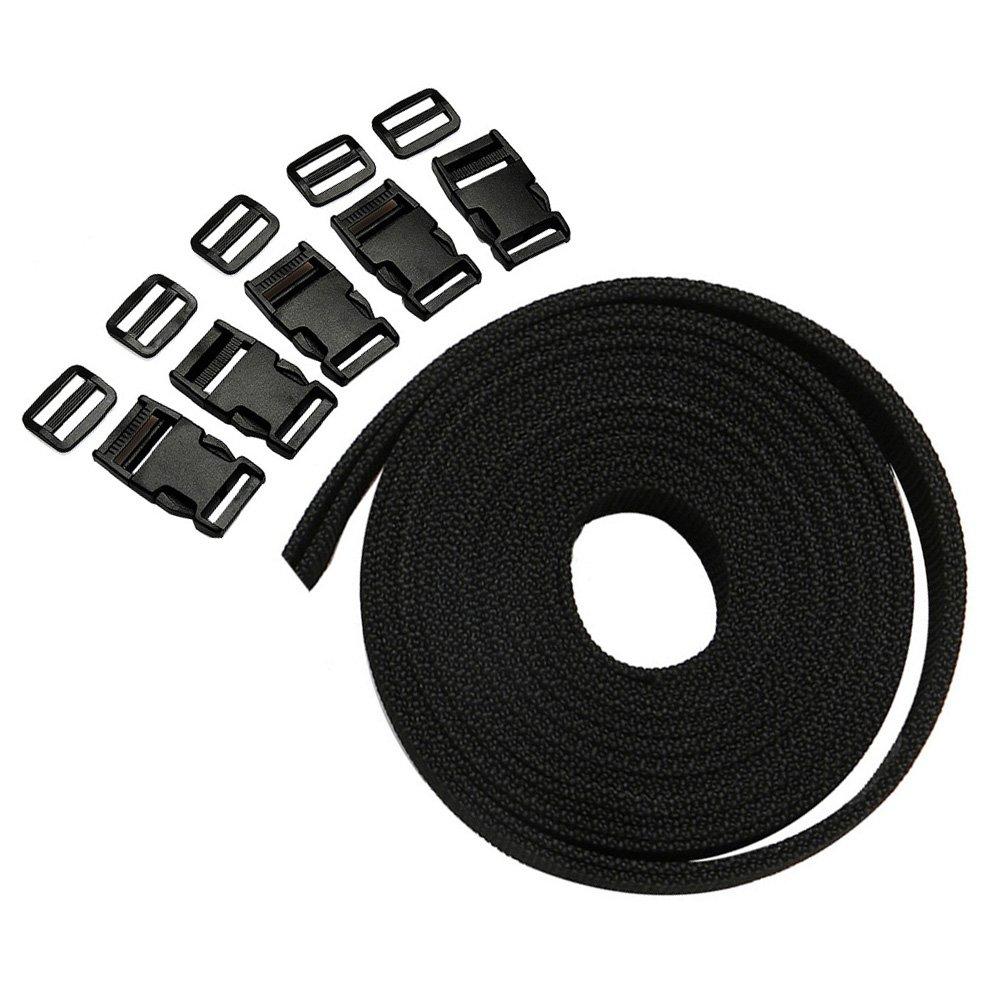 Polypropyl/ène Sangle en Nylon 4 m x 25 mm Sangle en Toile Multi-Usage avec Plastique Boucles pour DIY Craft