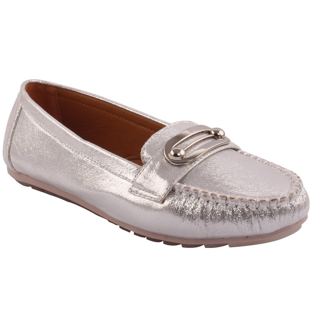 Unze Ladies Women Classic Shimmery Carnival Metal Detail Ball Evening Loafer Slip On Moccasin Flat Pump Shoes UK Size 3-8 - 1Q3688-111