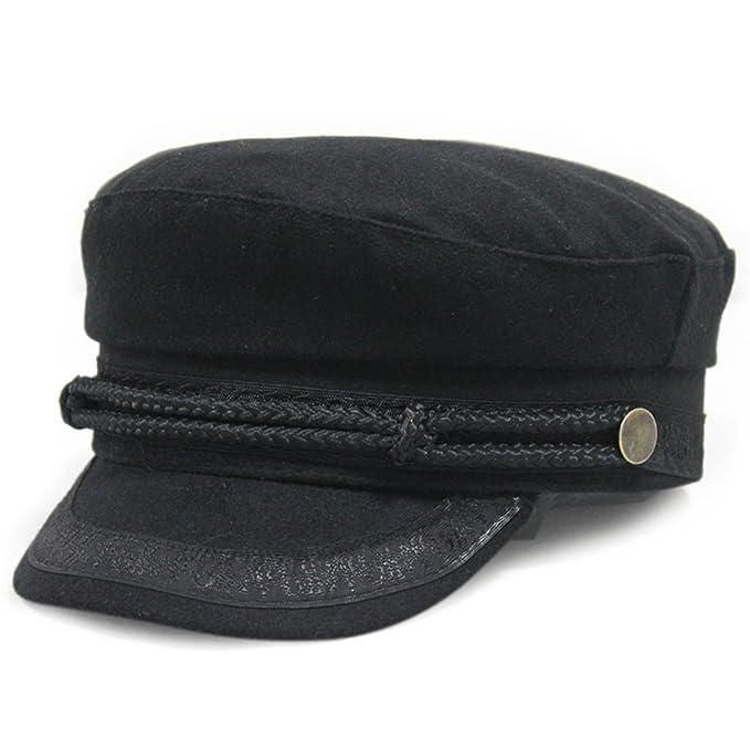 Gumstyle Lace Rope British Sea Captain's Hat Navy Flat Cap Black