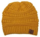 F1-6020a.72 FJ Beanie Slouchy Warm Knit Funky Junque Winter Hat - Mustard