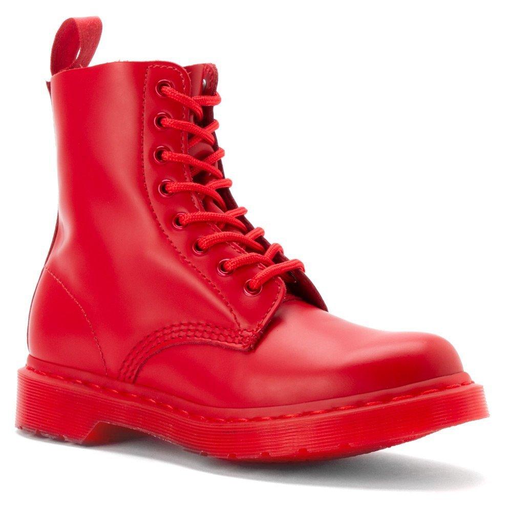 Dr. Martens Pascal-Buttero - Botas militares, Color Marrón (Marron)41 EU|Poppy Red
