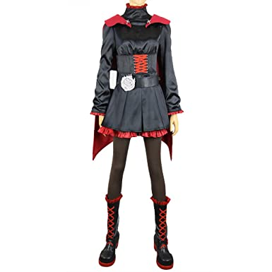 Amazon Com Mtxc Women S Rwby Cosplay Ruby Rose Outfit Clothing