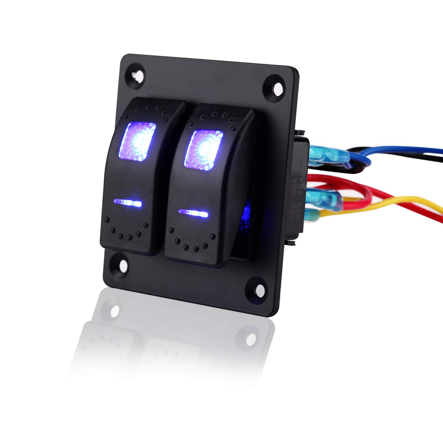 Jiaying Rocker Switch Aluminum Panel 12V 24V 2 Gang Toggle Switches Dash 5 Pin On Off Toggle Switch with Blue Backlit LED for Car Truck Boat Marine …