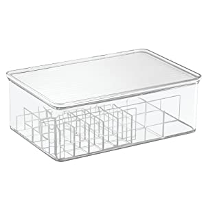 iDesign Clarity Lipstick and Cosmetic Organizer with Lid for Vanity Cabinet to Hold Makeup, Beauty Products - Clear