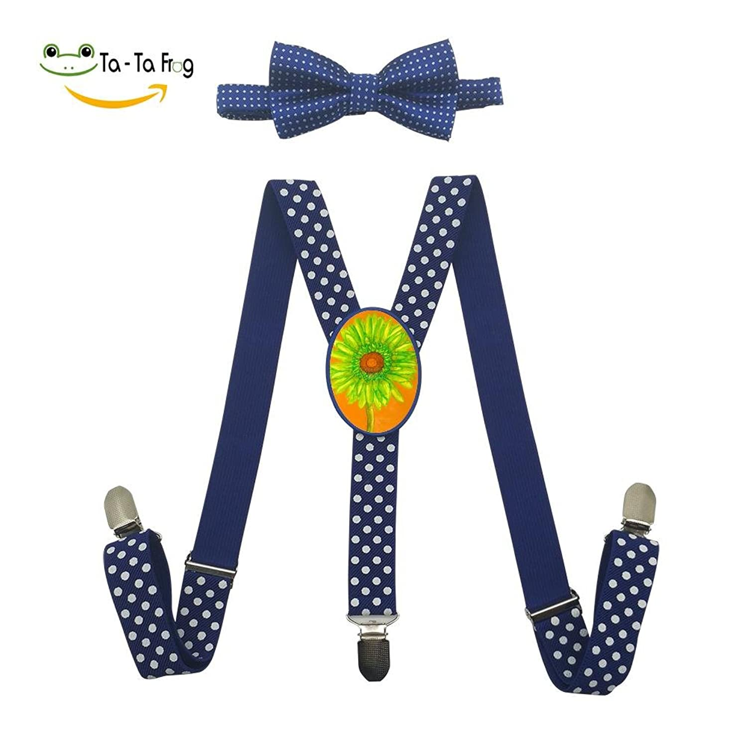 Xiacai Sun Flower Suspender&Bow Tie Set Adjustable Clip-On Y-Suspender Kids