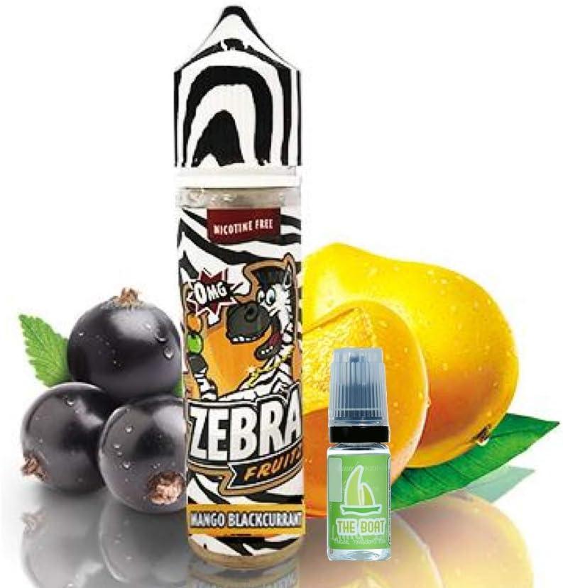 E Liquid Zebra Juice Fruitz Mango Blackcurrant 50ml - 80vg 20pg + E Liquid The Boat 10 ml lima limón - Pack de 2 líquidos para cigarrillo electrónico. Ambos liquidos contienen 0,0mg de nicotina.