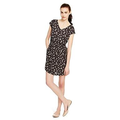 Mossimo Women s Woven A Line Hematite Black Floral 3 4 Sleeve Short Dress  (XS 9d2c3daa0e