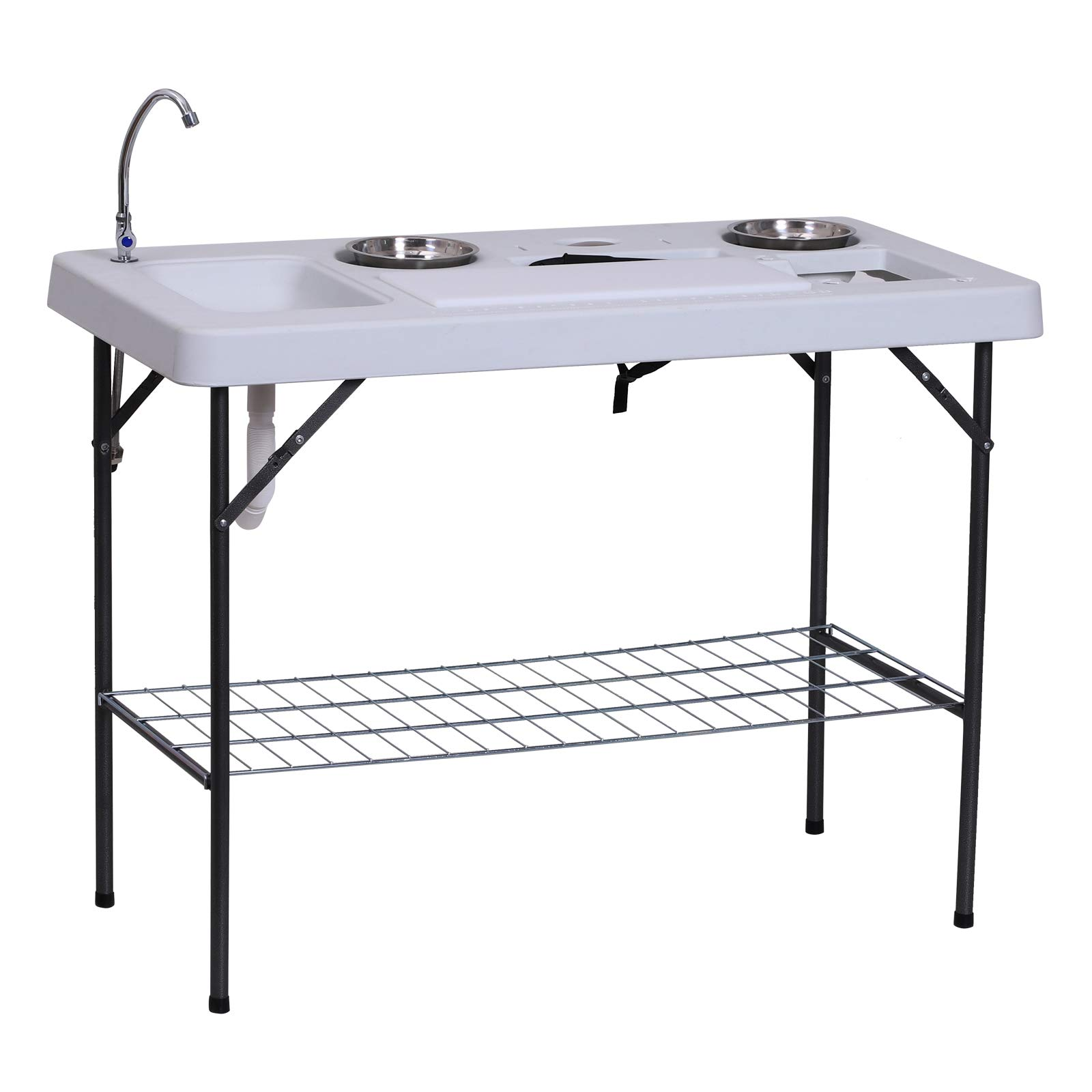 Outsunny 50'' L Folding Fish Cleaning Table with Sink, Faucet, and Accessories