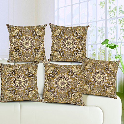Aart Beautiful Peacock design Pattern Cushion Cover with filler (Set of 5) 16x16