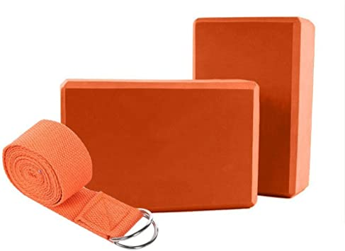 Yoga Blocks 2 Pack and Strap Set Yoga Bricks and Yoga Strap Totally 3 Pcs