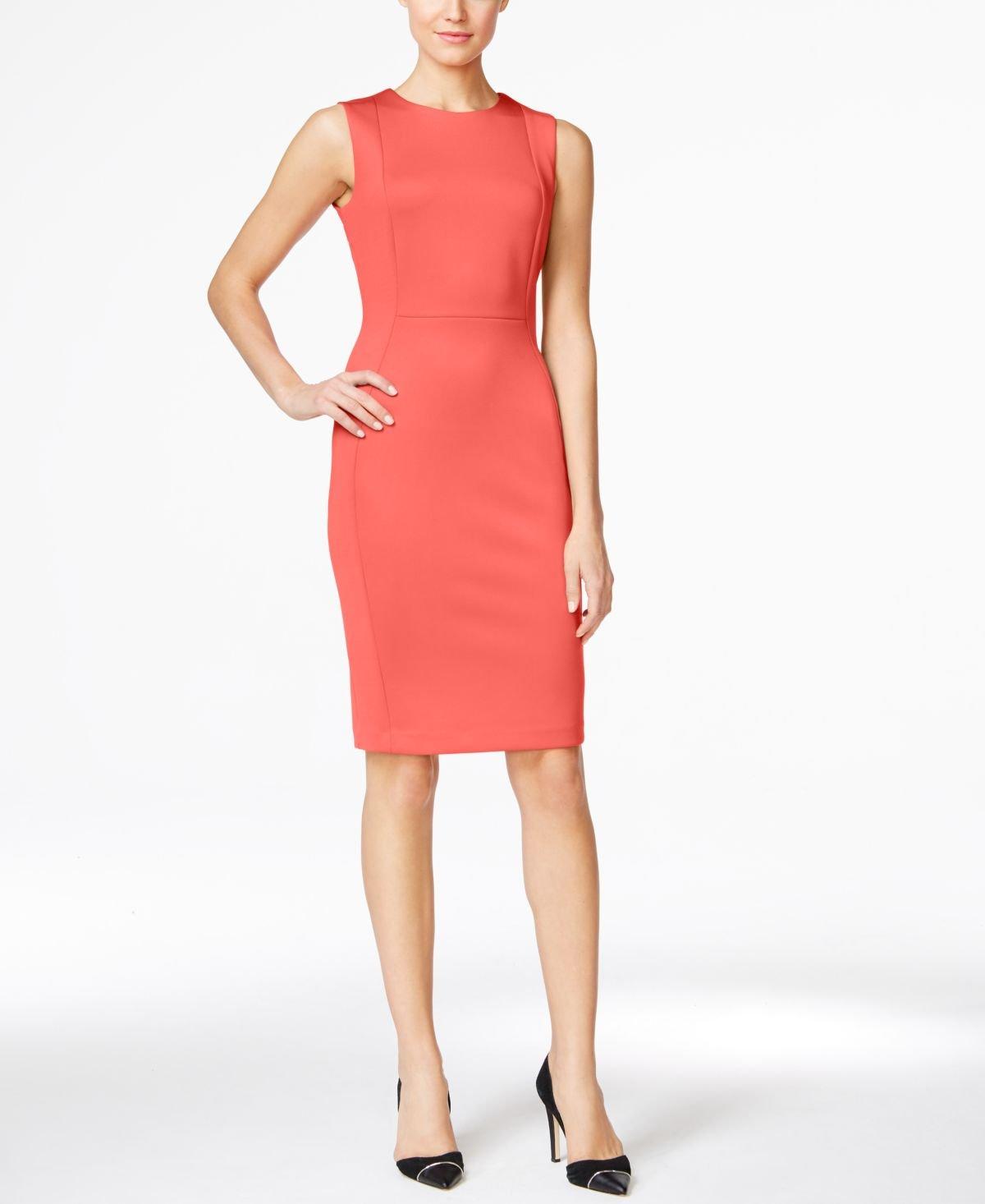 Calvin Klein Women's Seamed Sleeveless Sheath Dress, Watermelon, 6