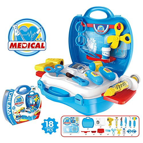 Lanlan 1Pcs Creative Mini Plastic Portable Suitcase Simulation Pretend Play Toys Role Play Dress Up Set Kid Gift Doctor Supplies Series (As Shown In (Fireman Dress Up Accessory Kit)