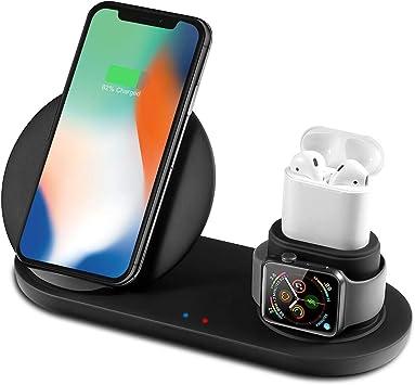Bestrans Cargador Inalámbrico Rápido, Cargadores por Inducción 3 en 1 para Apple Watch 4321 AirPods iPhone XSXRX 88 Plus, Samsung Galaxy S9 S9