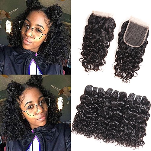 HUA Malaysian Water Wave Hair 3 Bundles with 4×4 Lace Closure Free Part Ocean Wave Wet & Wavy Bundle Deals Human Hair Weave Extensions Virgin Hair Bundles Malaysian Water Curly Hair (8 8 8 +8 closure)