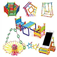 jay antiques Magic Building Kit/Blocks - Colourful Plastic Building Stick Kits, Connector Set Innovative Shapes and Designs Can Be Made, Multi Color