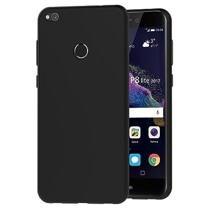 iVoler Funda Carcasa Gel Negro para Huawei P8 Lite 2017, Ultra Fina 0,33mm, Silicona TPU de Alta Resistencia y Flexibilidad