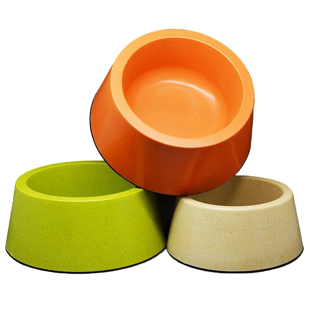 L+L Calunce Bamboo Fiber Pet Bowl for Dogs Cats Rabbits or Other Pets Candy colors Random colors (L+L)