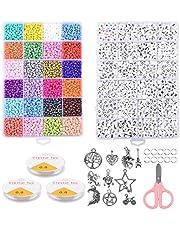 AOFOX kralen voor armbanden, 3800 stuks glaskralen met 1200 stuks alfabetkralen sieraden kit voor armbanden, sieraden armbanden maken