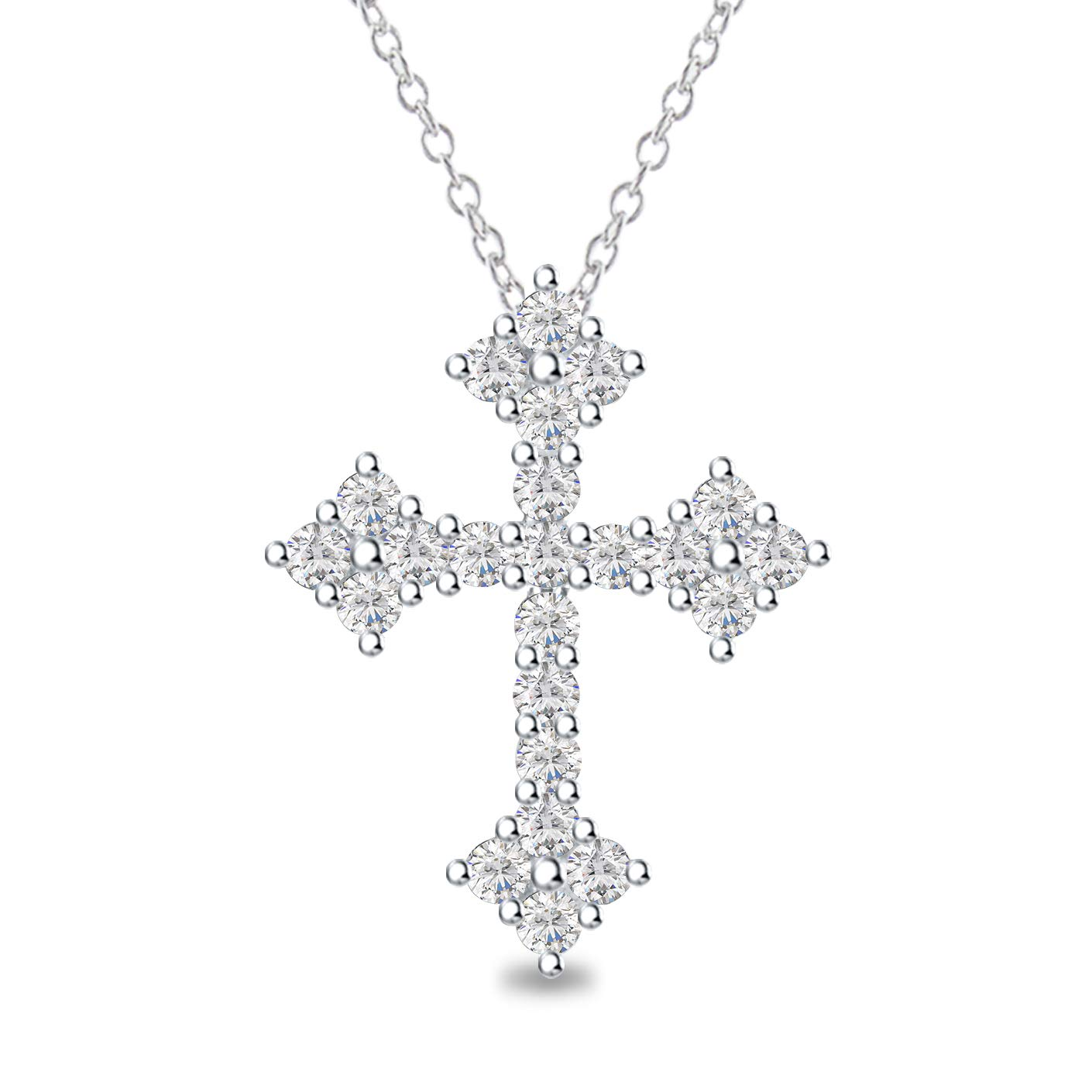 DiscountHouse4you Cross Pendant Necklace in 14k White Gold Over White Cubic Zirconia